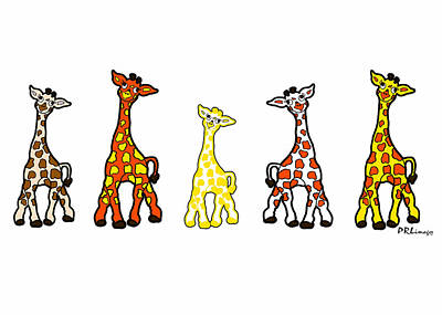 Baby Giraffes In A Row Poster