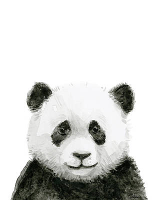 Baby Panda Watercolor Poster by Olga Shvartsur
