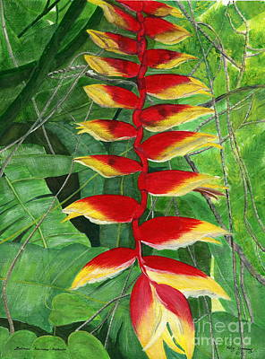 Poster featuring the painting Balinese Heliconia Rostrata by Melly Terpening