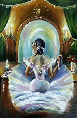 Ballerina At Mirror Poster