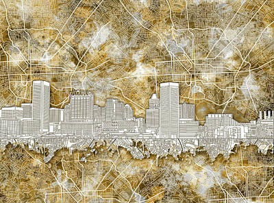 Poster featuring the painting Baltimore Skyline Watercolor 13 by Bekim Art