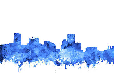 Poster featuring the painting Baltimore Skyline Watercolor 7 by Bekim Art