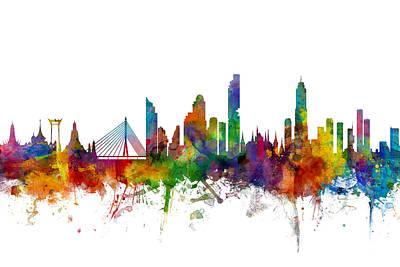 Bangkok Thailand Skyline Poster by Michael Tompsett