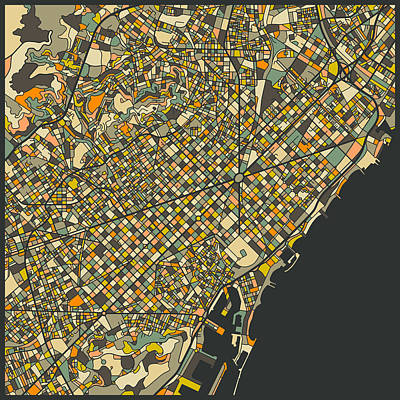 Barcelona Map Poster by Jazzberry Blue