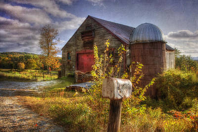 Barn And Silo In Autumn Poster by Joann Vitali