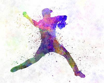 Baseball Player Throwing A Ball Poster by Pablo Romero