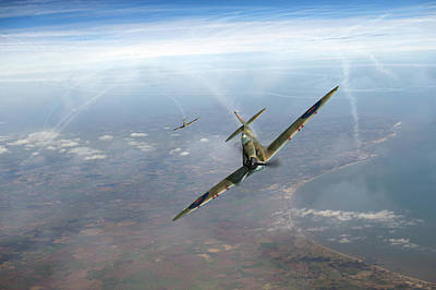 Poster featuring the photograph Battle Of Britain Spitfires Over Kent by Gary Eason