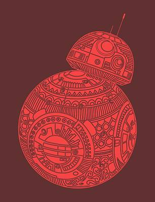 Bb8 Droid - Star Wars Art, Red Poster