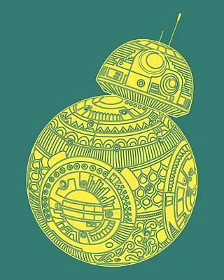 Bb8 Droid - Star Wars Art, Yellow Poster