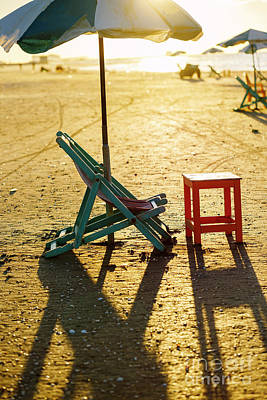 Beach Chair And Table. Poster by Mohamed Elkhamisy