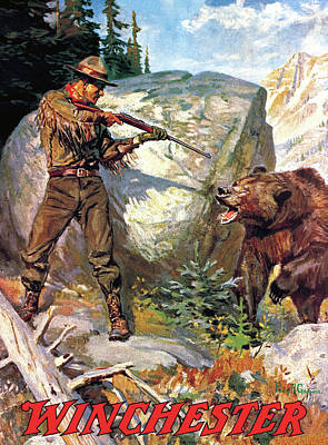 Poster featuring the painting Bear Charging Man by Philip R Goodwin