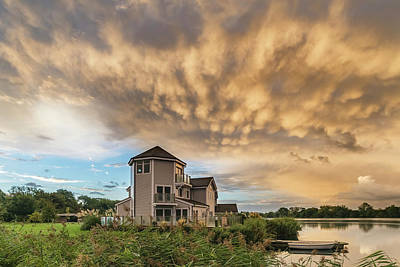 Beautiful Mammatus Clouds Formation Over Lake Landscape Immediat Poster