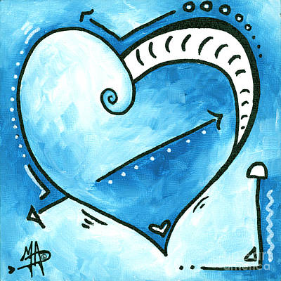 Beautiful Original Acrylic Heart Painting From The Pop Of Love Collection By Madart Poster by Megan Duncanson