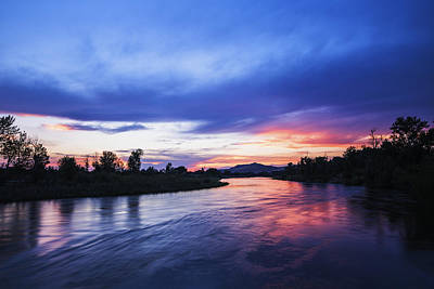 Beautiful Sunset Along Boise River Poster by Vishwanath Bhat