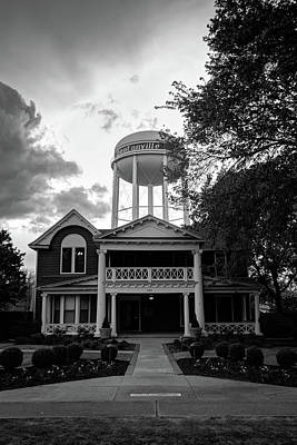 Poster featuring the photograph Bentonville Arkansas Water Tower - Black And White by Gregory Ballos