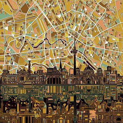 Berlin City Skyline Abstract Poster by Bekim Art