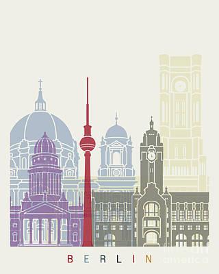 Berlin Skyline Poster Poster by Pablo Romero