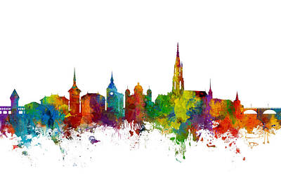 Bern Switzerland Skyline Poster by Michael Tompsett