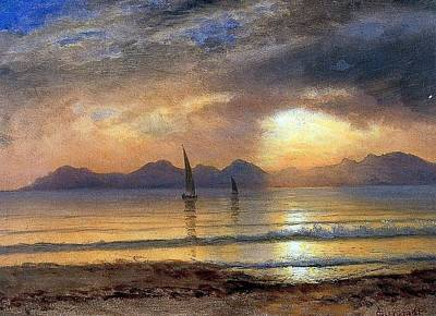Bierstadt Albert Sunset Over Poster