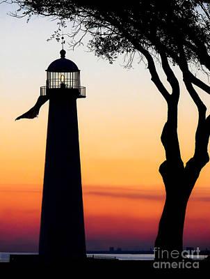 Biloxi Lighthouse At Dusk Poster by Joan McCool