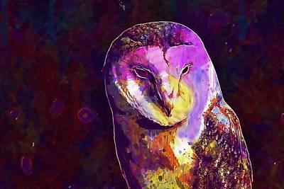 Poster featuring the digital art Bird Barn Owl Owl Barn Animal  by PixBreak Art