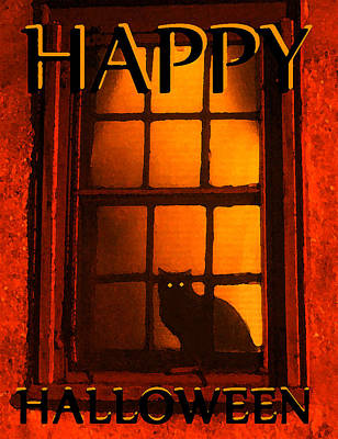 Black Cat Halloween Card Poster by David Lee Thompson