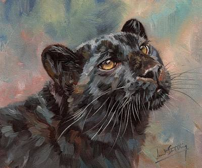 Black Leopard Poster by David Stribbling