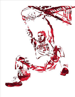 Blake Griffin Los Angeles Clippers Pixel Art 6 Poster by Joe Hamilton