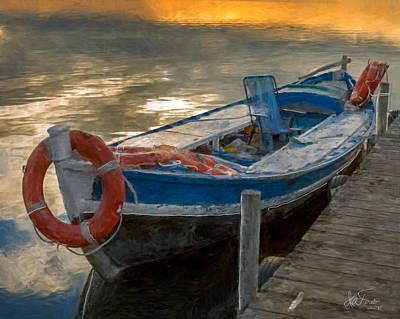 Poster featuring the photograph Blue Boat by Juan Carlos Ferro Duque