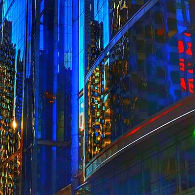 Poster featuring the photograph Blue Cityscape by Marianne Dow