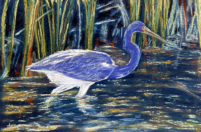 Poster featuring the pastel Blue Heron by Jan Amiss