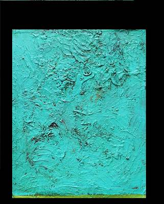 Aqua Blue And Green No 11 Oil On Board 16 X 20  Poster