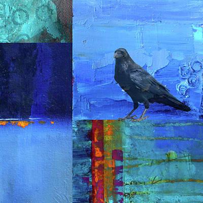 Poster featuring the digital art Blue Raven by Nancy Merkle