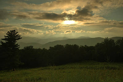 Poster featuring the photograph Blue Ridge Mountain Sunset by Stephen  Vecchiotti