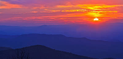 Blue Ridge Parkway Sunset, Va Poster by The American Shutterbug Society