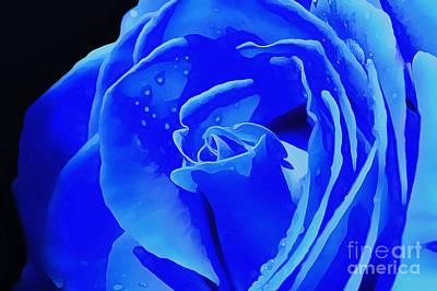 Blue Romance Poster by Krissy Katsimbras