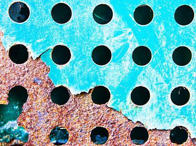 Blue Rusty Metal Poster by Tom Gowanlock