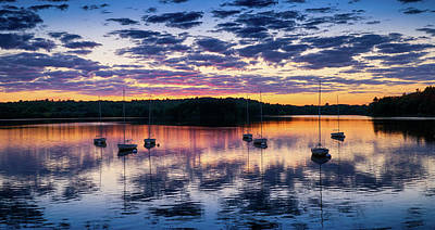 Boats And Sunset Reflections Poster by Lilia D