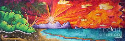 Bold Colorful Tropical Sunset Art Original Beach Painting By Megan Duncanson Poster by Megan Duncanson