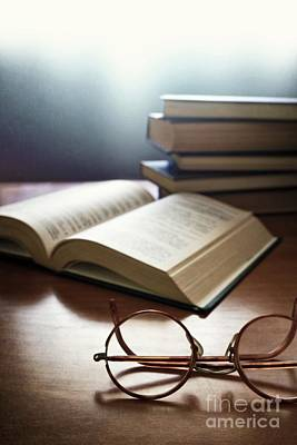 Books And Glasses Poster by Carlos Caetano