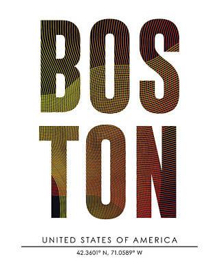 Boston City Print With Coordinates Poster