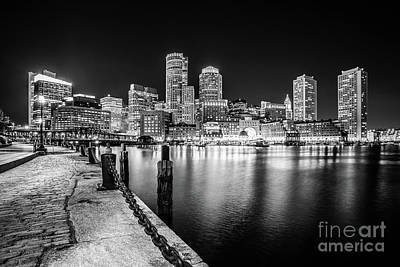 Boston Skyline At Night Black And White Photo Poster