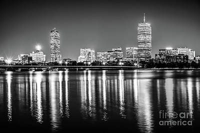 Boston Skyline At Night Black And White Picture Poster