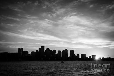 Boston Skyline Black And White Photo Poster