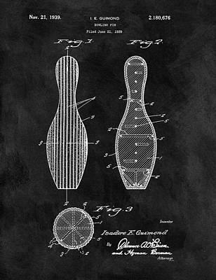 Bowling Pin Patent Poster