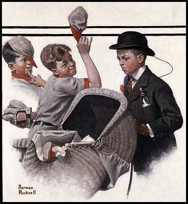 Boy With Baby Carriage Poster by Norman Rockwell