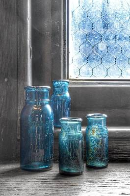 Poster featuring the photograph Bromo Seltzer Vintage Glass Bottles by Marianna Mills