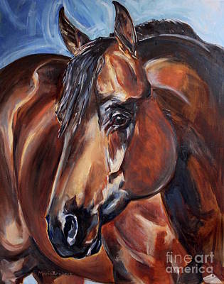 Brown Horse  Poster by Maria's Watercolor
