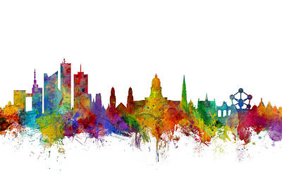 Brussels Belgium Skyline Poster