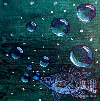 Poster featuring the painting Bubble Fish Underwater by Janelle Dey